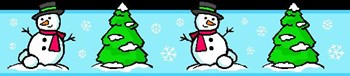 Snowman and Tree Clip Art