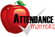 apple with check that says attendance matters