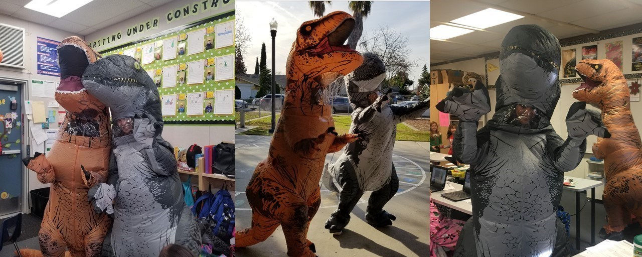 Admin turn into dinos for jog-a-thon reward